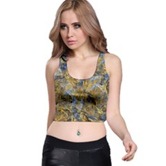 Antique Anciently Gold Blue Vintage Design Racer Back Crop Top by designworld65