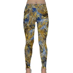 Antique Anciently Gold Blue Vintage Design Yoga Leggings  by designworld65