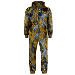 Antique Anciently Gold Blue Vintage Design Hooded Jumpsuit (men)  by designworld65
