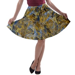 Antique Anciently Gold Blue Vintage Design A Line Skater Skirt by designworld65