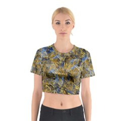 Antique Anciently Gold Blue Vintage Design Cotton Crop Top by designworld65
