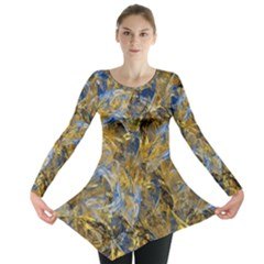 Antique Anciently Gold Blue Vintage Design Long Sleeve Tunic  by designworld65