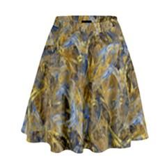 Antique Anciently Gold Blue Vintage Design High Waist Skirt by designworld65