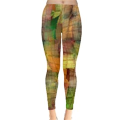 Indian Summer Funny Check Leggings  by designworld65