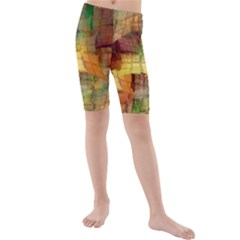 Indian Summer Funny Check Kids  Mid Length Swim Shorts by designworld65