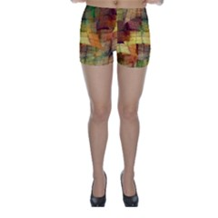 Indian Summer Funny Check Skinny Shorts by designworld65