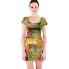 Indian Summer Funny Check Short Sleeve Bodycon Dress by designworld65