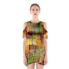 Indian Summer Funny Check Cutout Shoulder Dress by designworld65