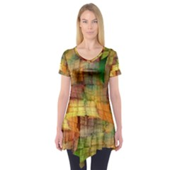 Indian Summer Funny Check Short Sleeve Tunic  by designworld65