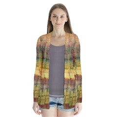 Indian Summer Funny Check Drape Collar Cardigan by designworld65