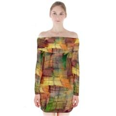 Indian Summer Funny Check Long Sleeve Off Shoulder Dress by designworld65