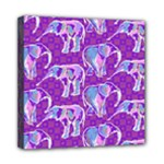 Cute Violet Elephants Pattern Mini Canvas 8  x 8