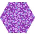 Cute Violet Elephants Pattern Mini Folding Umbrellas