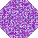 Cute Violet Elephants Pattern Hook Handle Umbrellas (Large)