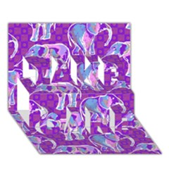 Cute Violet Elephants Pattern Take Care 3d Greeting Card (7x5) by DanaeStudio