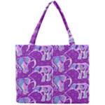 Cute Violet Elephants Pattern Mini Tote Bag