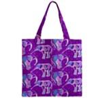 Cute Violet Elephants Pattern Zipper Grocery Tote Bag