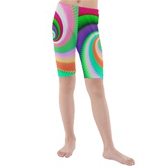 Colorful Spiral Dragon Scales   Kids  Mid Length Swim Shorts by designworld65