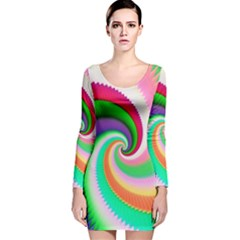 Colorful Spiral Dragon Scales   Long Sleeve Velvet Bodycon Dress by designworld65