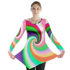Colorful Spiral Dragon Scales   Long Sleeve Tunic  by designworld65