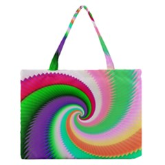 Colorful Spiral Dragon Scales   Medium Zipper Tote Bag by designworld65