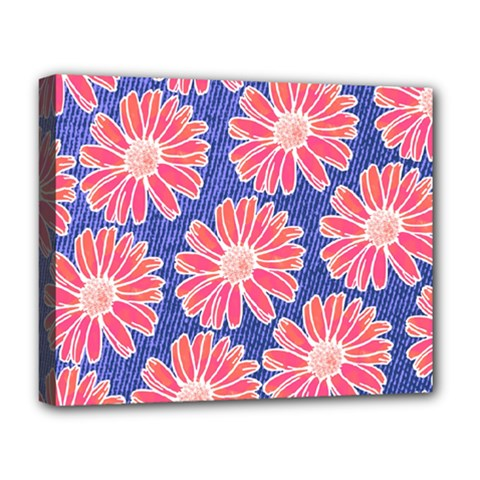 Pink Daisy Pattern Deluxe Canvas 20  X 16   by DanaeStudio