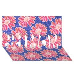 Pink Daisy Pattern #1 Mom 3d Greeting Cards (8x4) by DanaeStudio