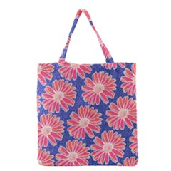 Pink Daisy Pattern Grocery Tote Bag by DanaeStudio