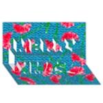 Carnations Merry Xmas 3D Greeting Card (8x4)