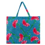Carnations Zipper Large Tote Bag