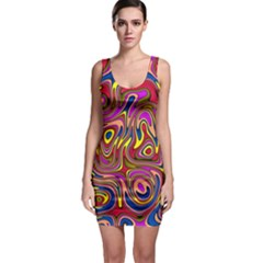 Abstract Shimmering Multicolor Swirly Sleeveless Bodycon Dress by designworld65