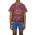 Abstract Shimmering Multicolor Swirly Kids  Short Sleeve Swimwear