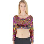 Abstract Shimmering Multicolor Swirly Long Sleeve Crop Top