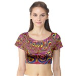 Abstract Shimmering Multicolor Swirly Short Sleeve Crop Top (Tight Fit)