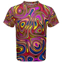 Abstract Shimmering Multicolor Swirly Men s Cotton Tee by designworld65