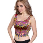 Abstract Shimmering Multicolor Swirly Crop Top