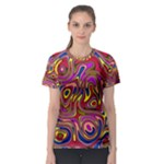 Abstract Shimmering Multicolor Swirly Women s Sport Mesh Tee