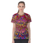 Abstract Shimmering Multicolor Swirly Women s Cotton Tee