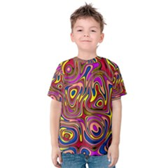 Abstract Shimmering Multicolor Swirly Kids  Cotton Tee by designworld65