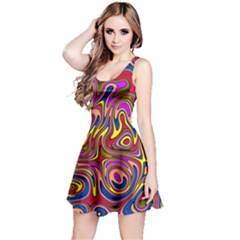 Abstract Shimmering Multicolor Swirly Reversible Sleeveless Dress by designworld65