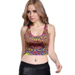 Abstract Shimmering Multicolor Swirly Racer Back Crop Top