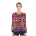 Abstract Shimmering Multicolor Swirly Women s Long Sleeve Tee