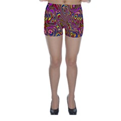 Abstract Shimmering Multicolor Swirly Skinny Shorts by designworld65
