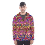 Abstract Shimmering Multicolor Swirly Hooded Wind Breaker (Men)