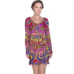 Abstract Shimmering Multicolor Swirly Long Sleeve Nightdress by designworld65