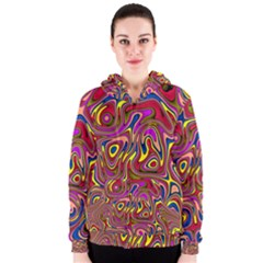 Abstract Shimmering Multicolor Swirly Women s Zipper Hoodie by designworld65