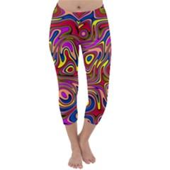 Abstract Shimmering Multicolor Swirly Capri Winter Leggings  by designworld65