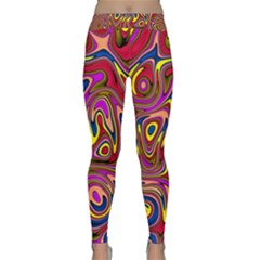 Abstract Shimmering Multicolor Swirly Yoga Leggings  by designworld65