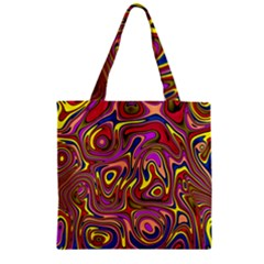 Abstract Shimmering Multicolor Swirly Zipper Grocery Tote Bag by designworld65