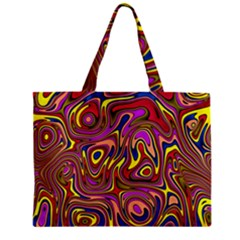 Abstract Shimmering Multicolor Swirly Zipper Mini Tote Bag by designworld65
